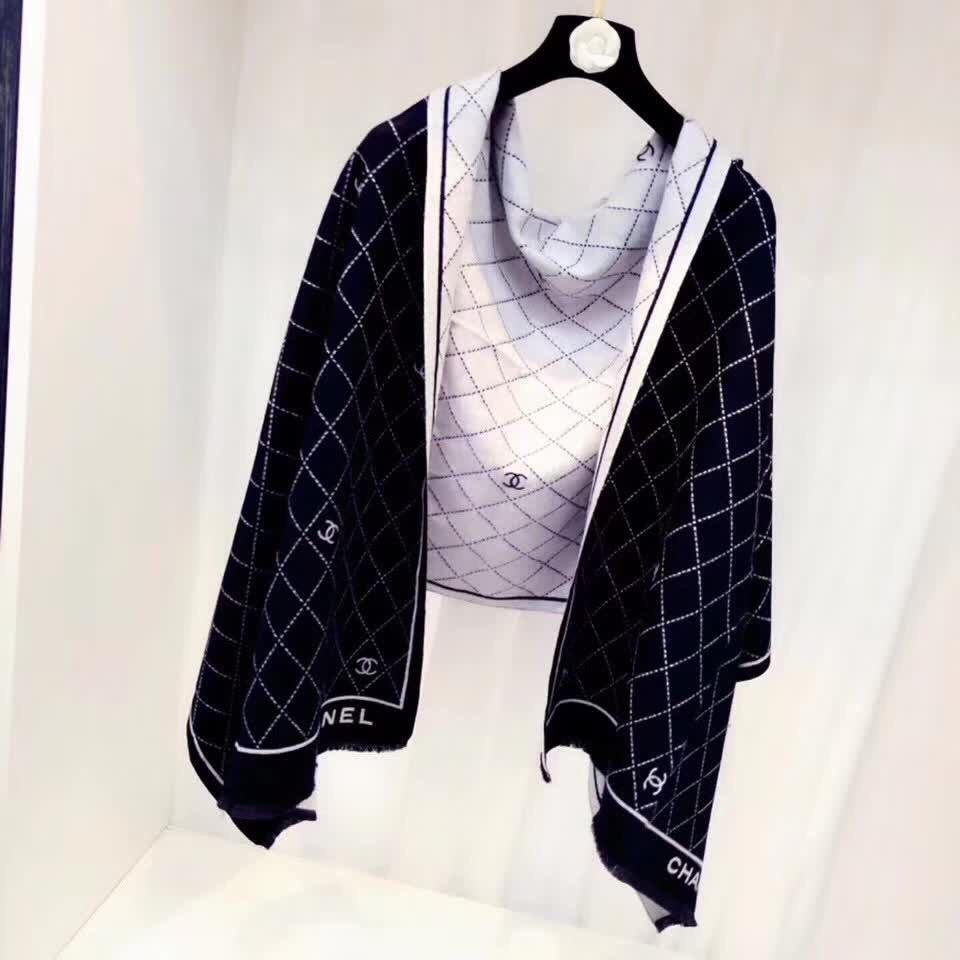 香奈儿菱形格子小香秋冬新款羊毛混纺质
