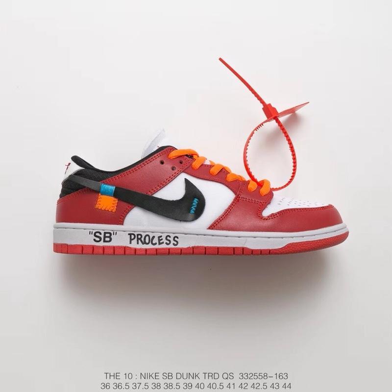 """真标半码OFF-WHITE 主理人Virgil Abloh x Nike Nike Dunk Low Pro SB扣篮低帮街头板鞋""""OW红白黑橘""""  货号:332558-163 72ef7fac9"""