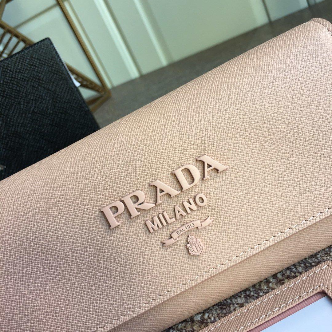 prdad独家首发2018年早春新款女士钱包 lMH132十字纹牛皮(图3)