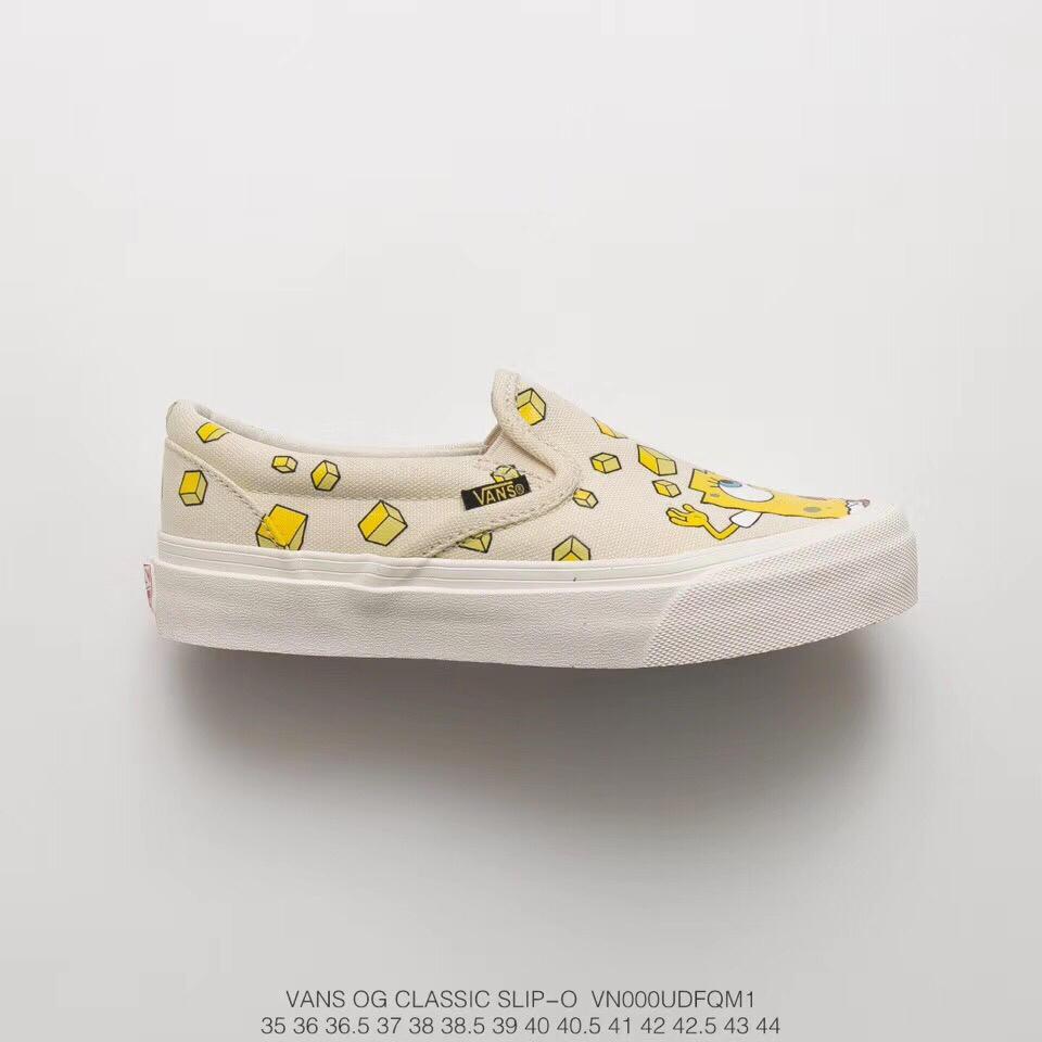 """真标带半码,海绵宝宝动漫联名! Spongebob x vans OG Classic Slip-On一脚蹬硫化懒人套鞋""""海绵宝宝米黄"""" 货号: VN000UDFQM1 ffddffff37"""