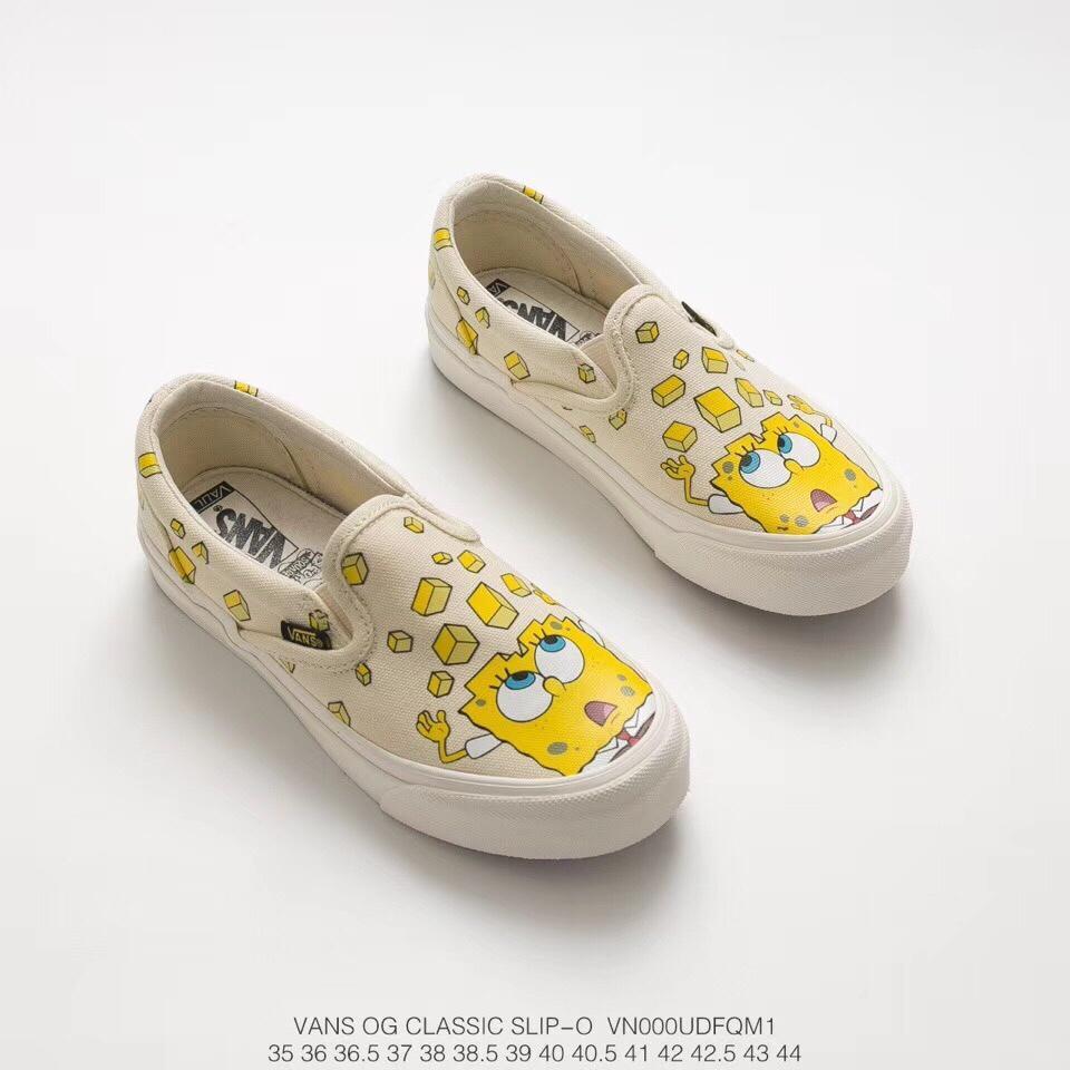 真标带半码,海绵宝宝动漫联名! Spongebob x vans OG Classic Slip-On一 ... 18a3abf08d