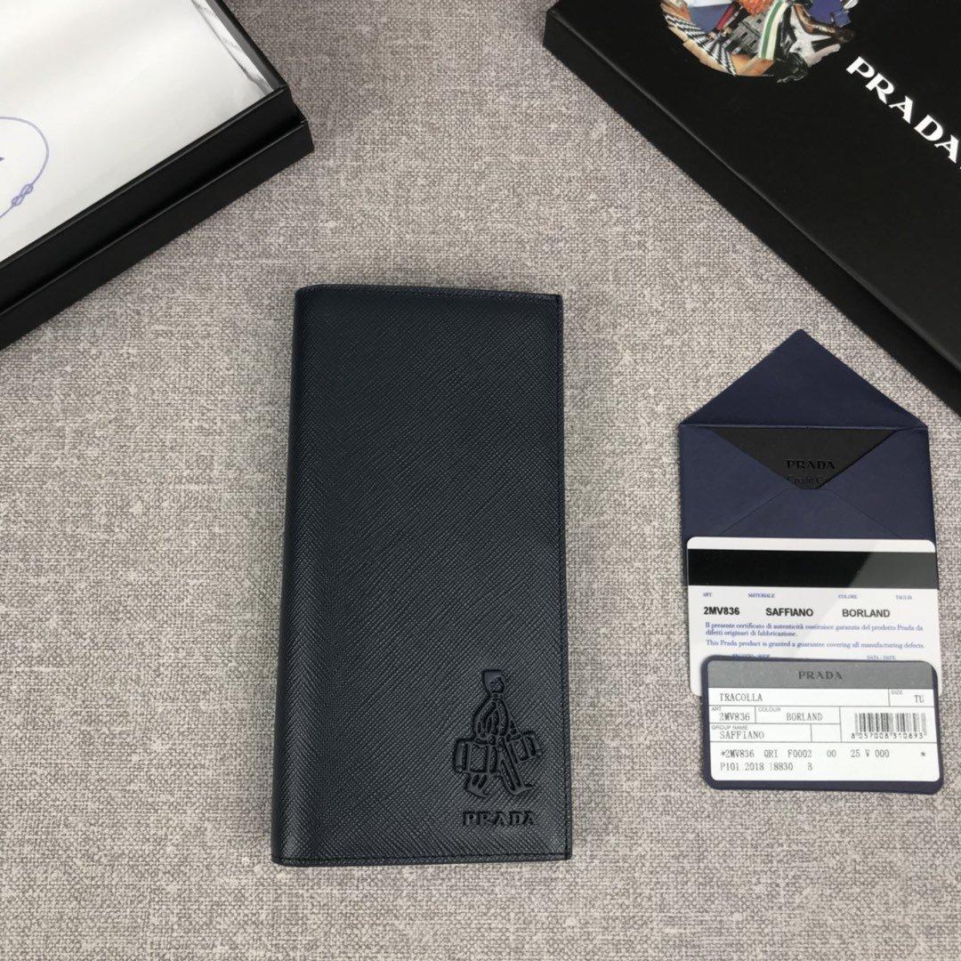 原单代购级PRADA新款男士单拉链钱包专柜最新同色标志 官网同步(图5)