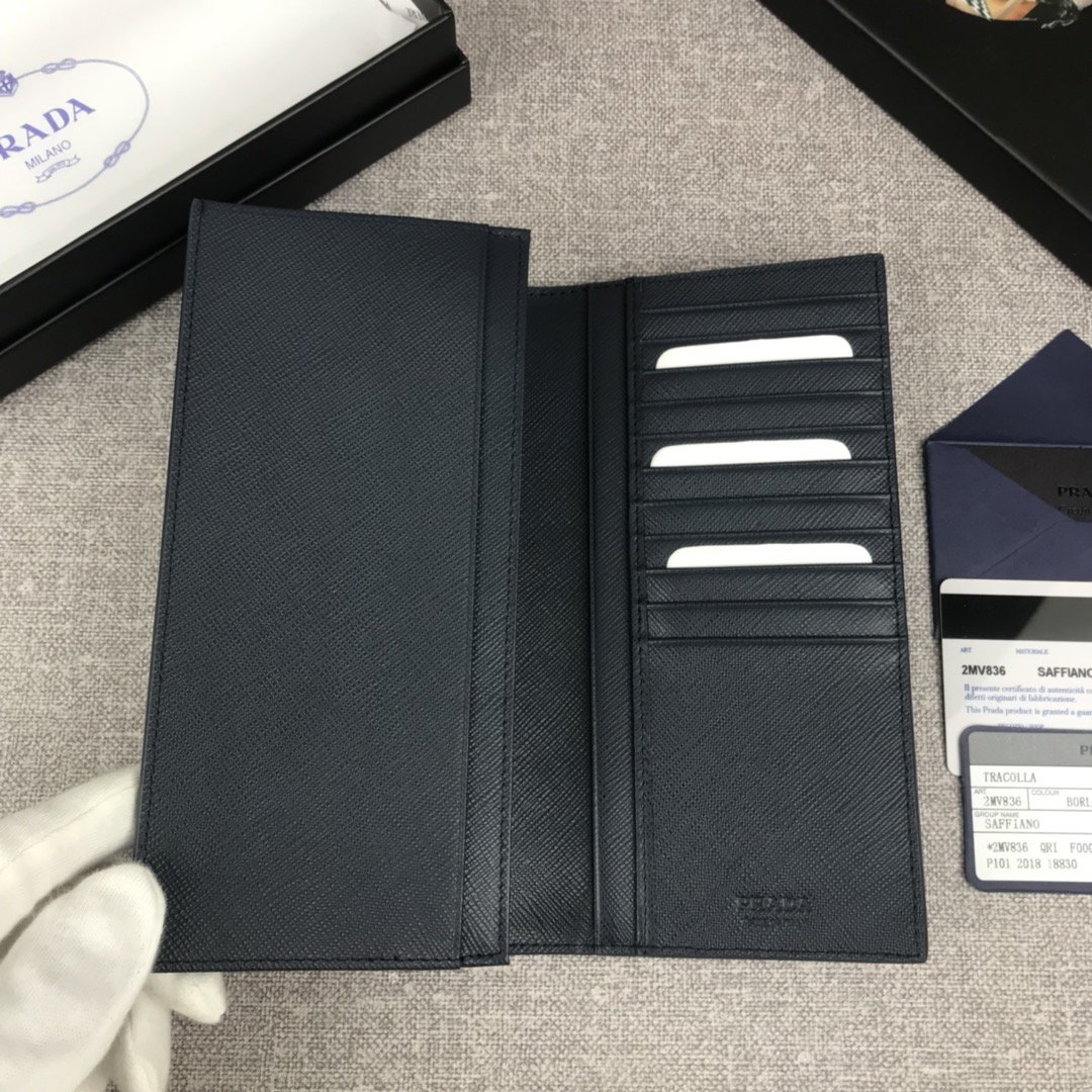 原单代购级PRADA新款男士单拉链钱包专柜最新同色标志 官网同步(图6)