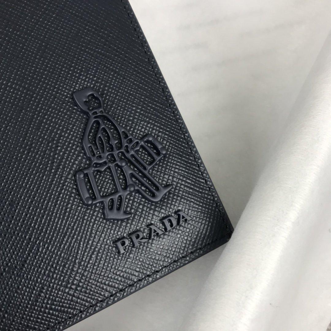 原单代购级PRADA新款男士单拉链钱包专柜最新同色标志 官网同步(图4)