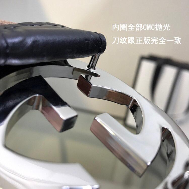 GUCCI 古奇双G压花牛皮腰带 411924 黑色  40mm (图4)