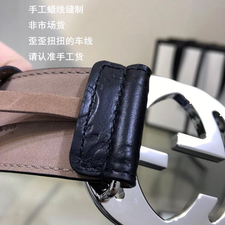 GUCCI 古奇双G压花牛皮腰带 411924 黑色  40mm (图5)
