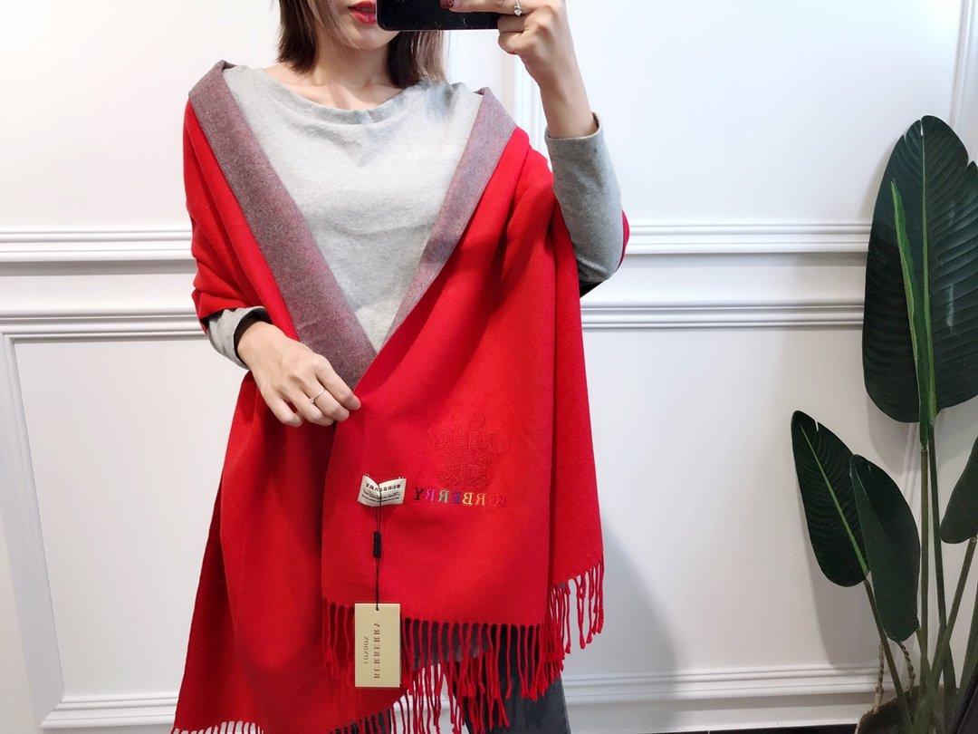 巴宝莉双面羊绒彩色刺绣强货2019最