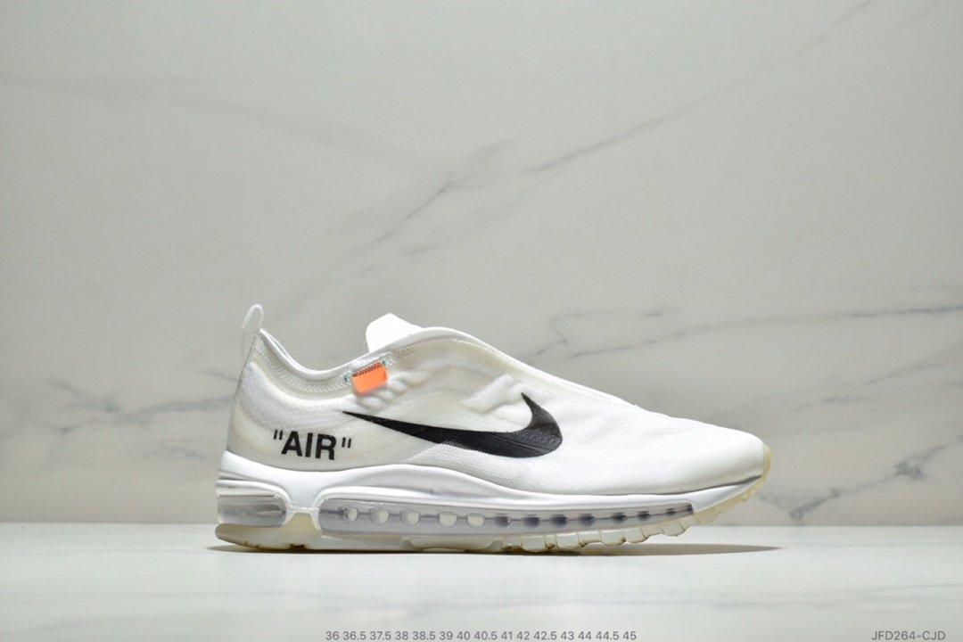 """0ed7bd6880ee P180 真标!Off White x Nike Air Max 97 """"Black""""复古百搭慢跑鞋""""OW全黑白橘""""AJ4585-001 尺码:36  36.5 37.5 38 38.5 39 40 4"""