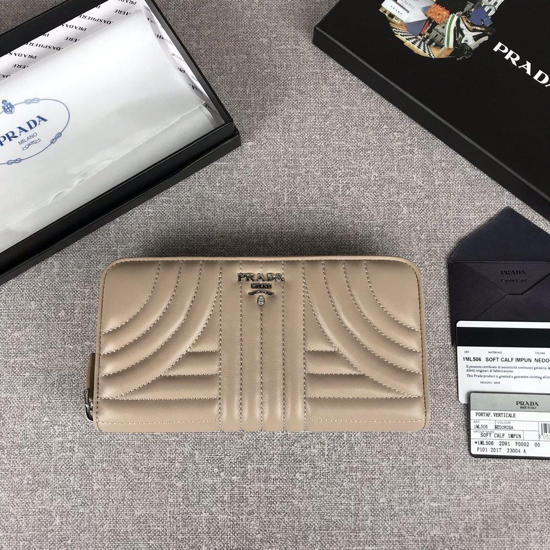 原单代购级PRADA女士单拉链钱包专柜最新款式 官网同步