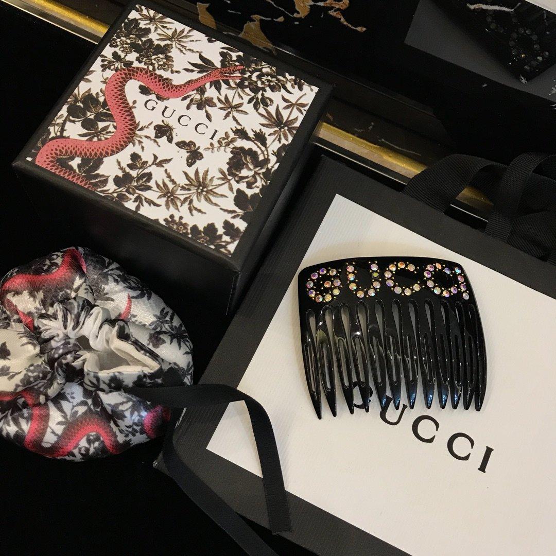 原单货Gucci古驰水晶字母头饰发梳