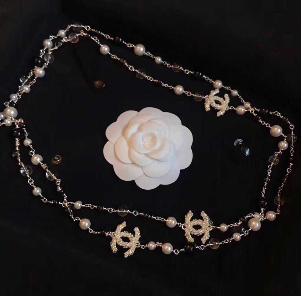 小香双C经典黑白珍珠长链毛衣链气质上