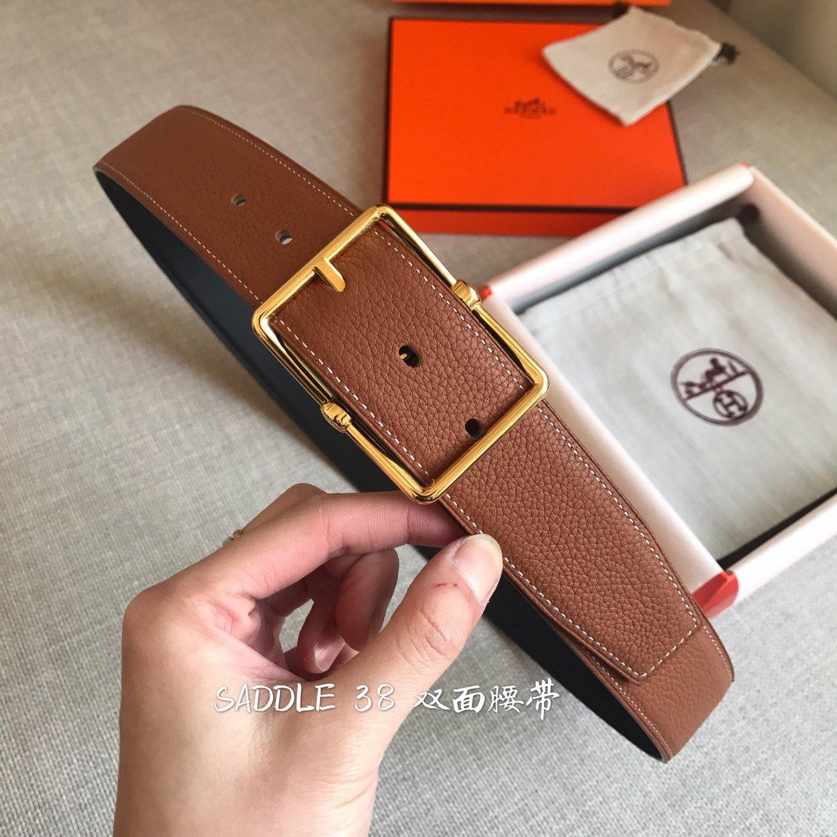2019爱马仕Hermes春夏季最新款 SADDLE 38 双面皮腰带 官网同步