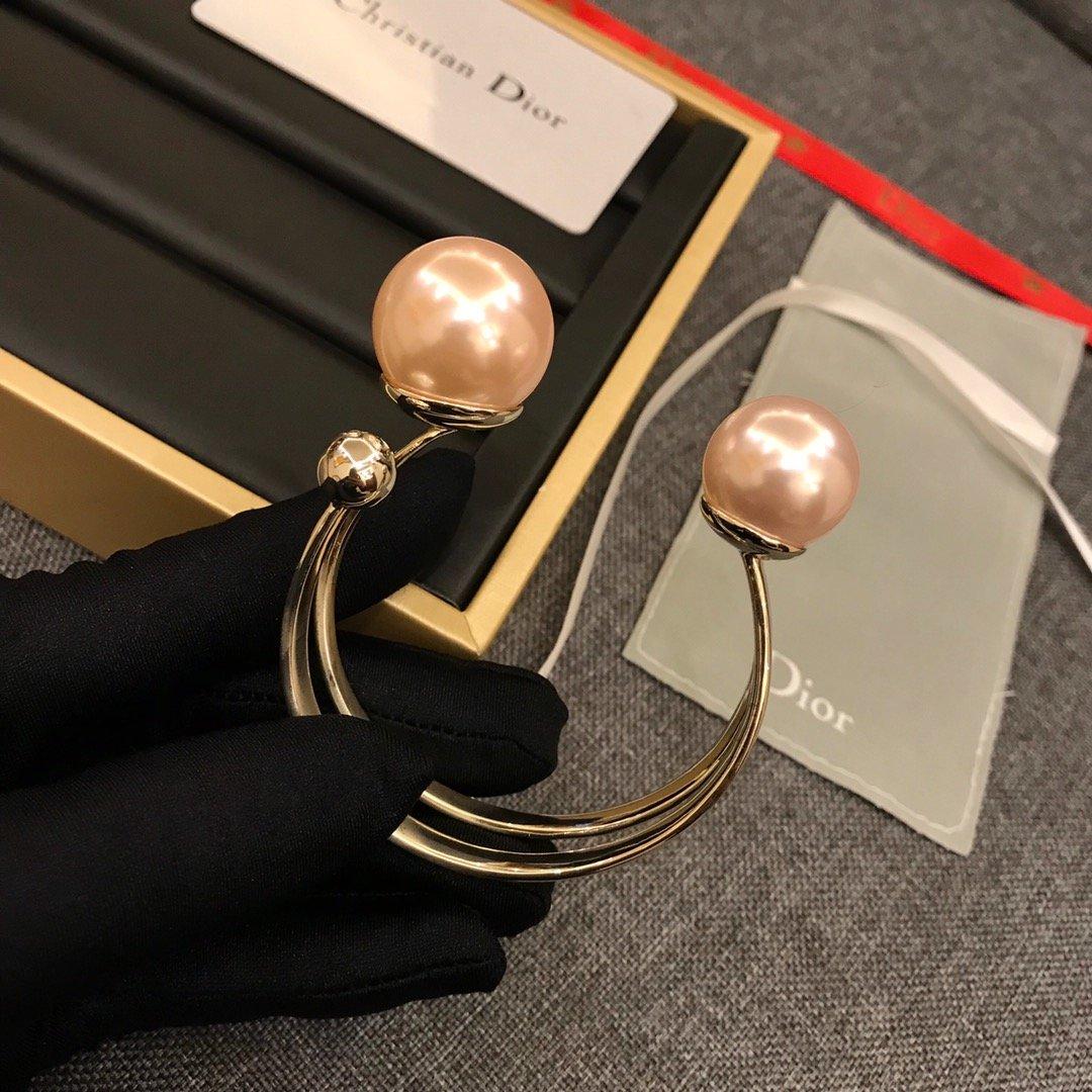 迪奥大珍珠开口手镯原版黄铜材质持久不