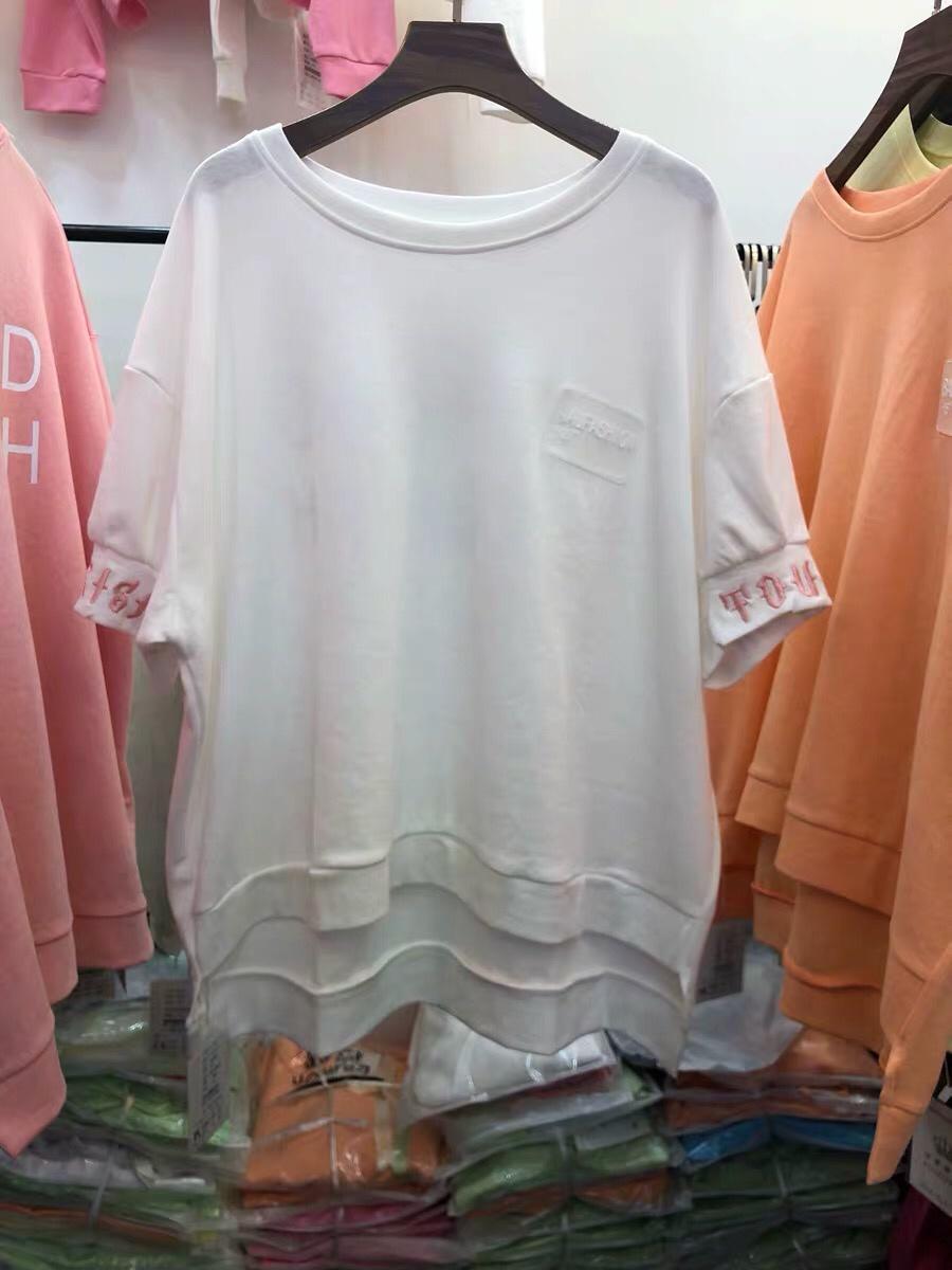 2019夏季新款女装韩版时尚圆领字母短袖T恤宽松上衣纷紫伊绮1979