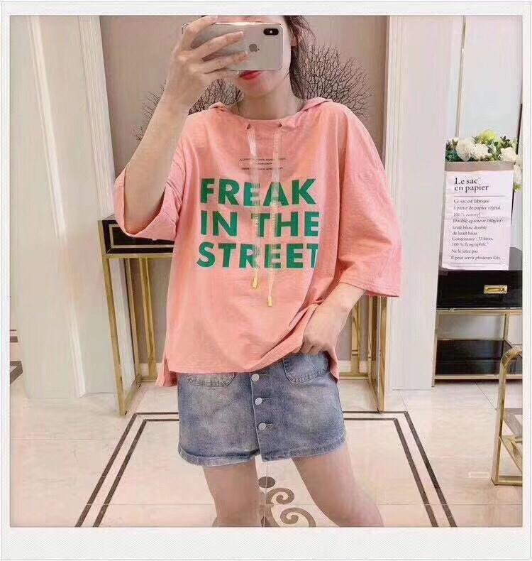 粉色连帽t恤女短袖2019新款夏装韩版宽松半袖体恤衫休闲带帽上衣均