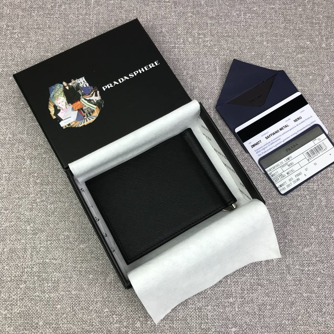 原单代购级PRADA男士金属钱夹专柜最新款式 官网同步(图2)