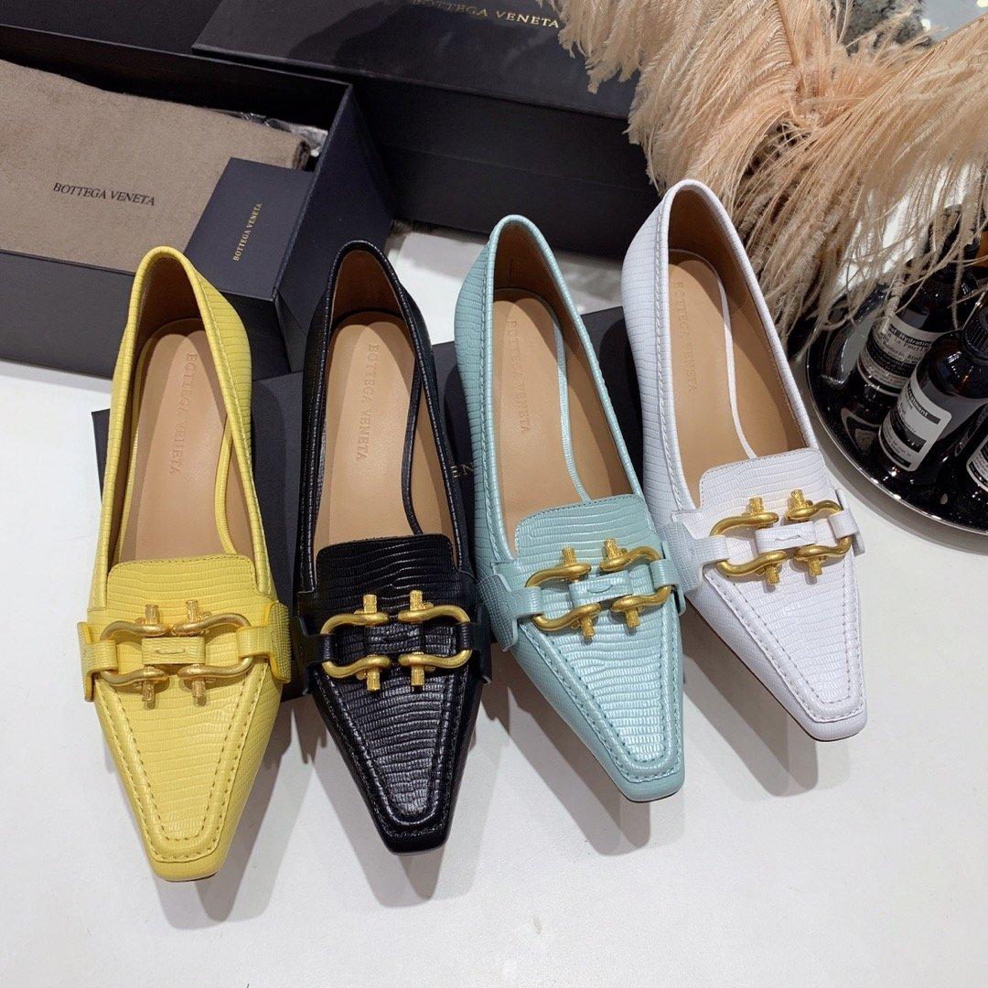 Bottega veneta 2019早秋专柜新款 原版订制进口小牛皮 /蜥蜴纹牛皮尖头鞋(图4)