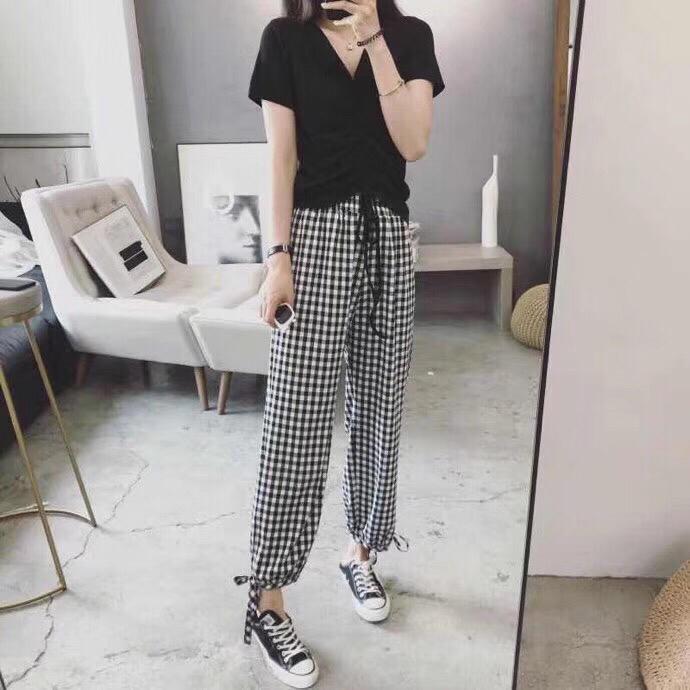 P38爆款 钱夫人CHINSTUDIO春装2019款高腰垂感萝卜裤女复古宽松显瘦