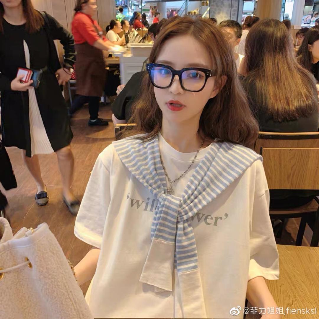 P48 钱夫人定制 被疯狂爆灯的私服印花T恤裙  白色——
