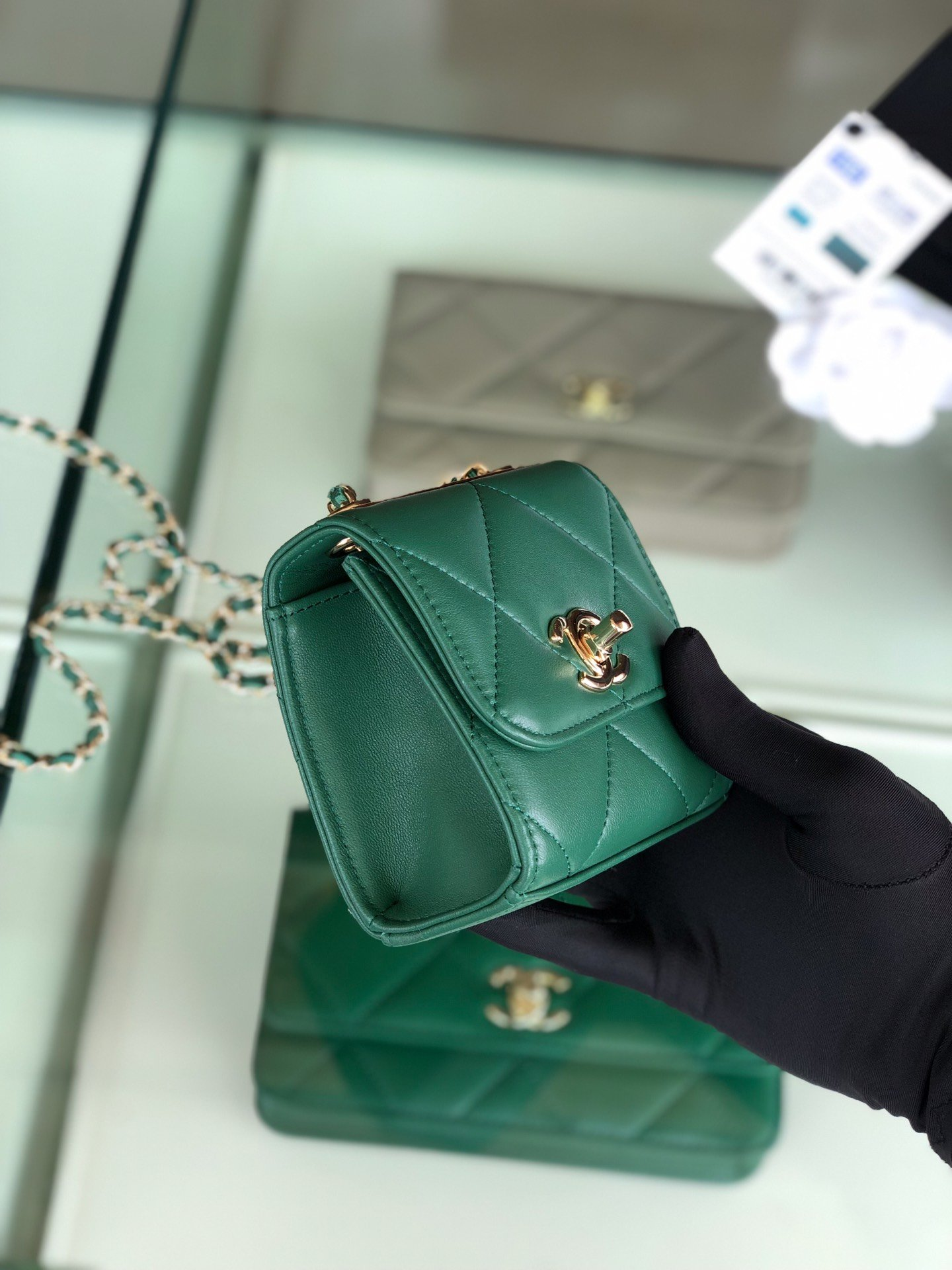 Chanel香奈儿专柜同款 大方格新款零钱包 单肩斜挎(图3)