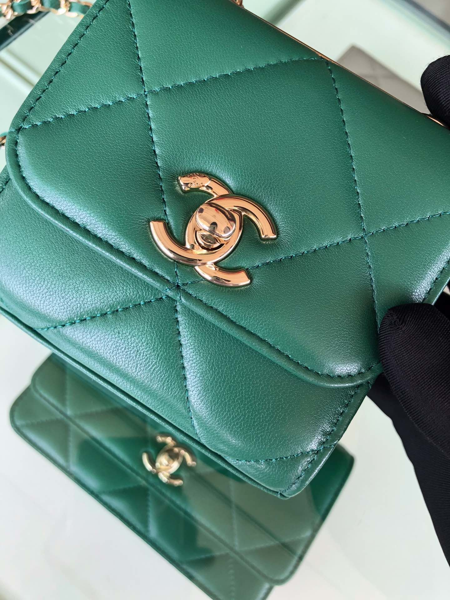 Chanel香奈儿专柜同款 大方格新款零钱包 单肩斜挎(图6)