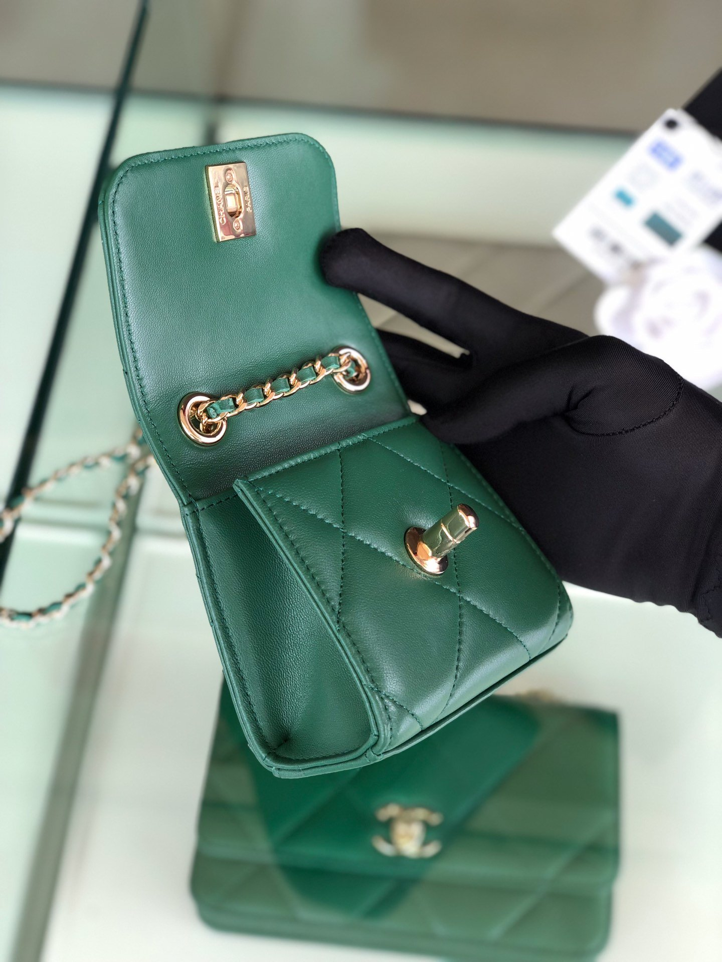 Chanel香奈儿专柜同款 大方格新款零钱包 单肩斜挎(图8)
