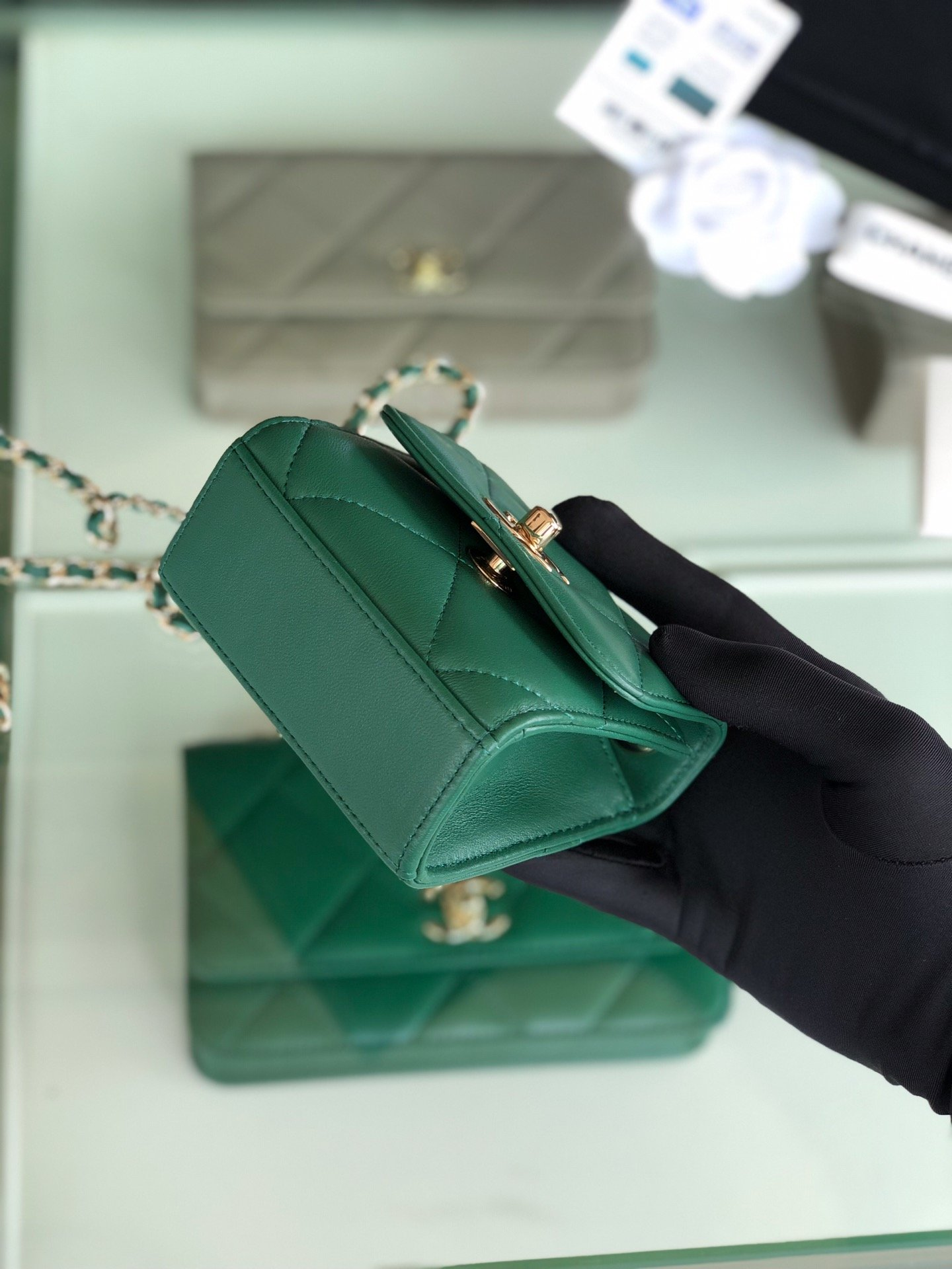 Chanel香奈儿专柜同款 大方格新款零钱包 单肩斜挎(图4)