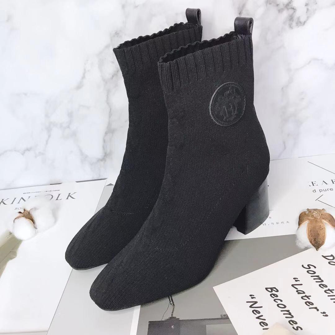 Hermes 爱马仕 早秋新款弹力粗跟袜子靴 短靴(图3)