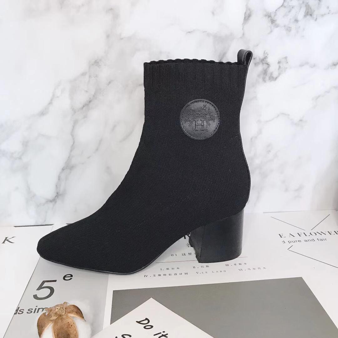 Hermes 爱马仕 早秋新款弹力粗跟袜子靴 短靴(图5)