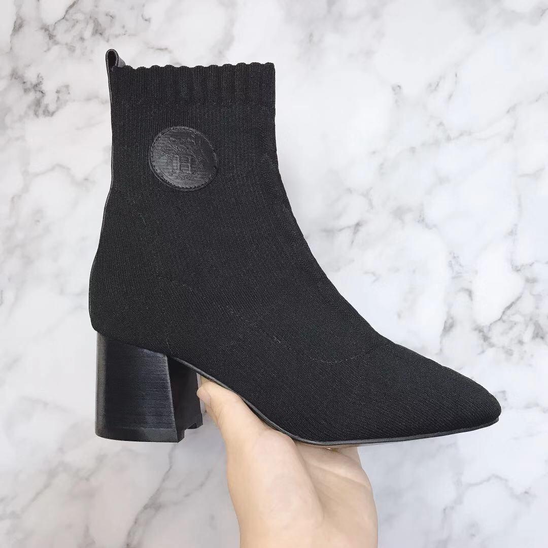 Hermes 爱马仕 早秋新款弹力粗跟袜子靴 短靴(图4)