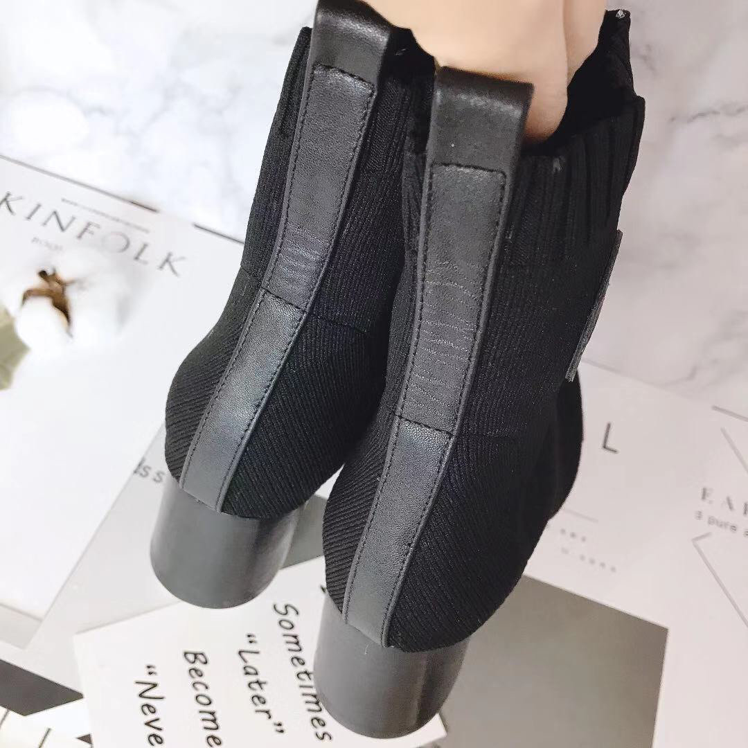Hermes 爱马仕 早秋新款弹力粗跟袜子靴 短靴(图8)