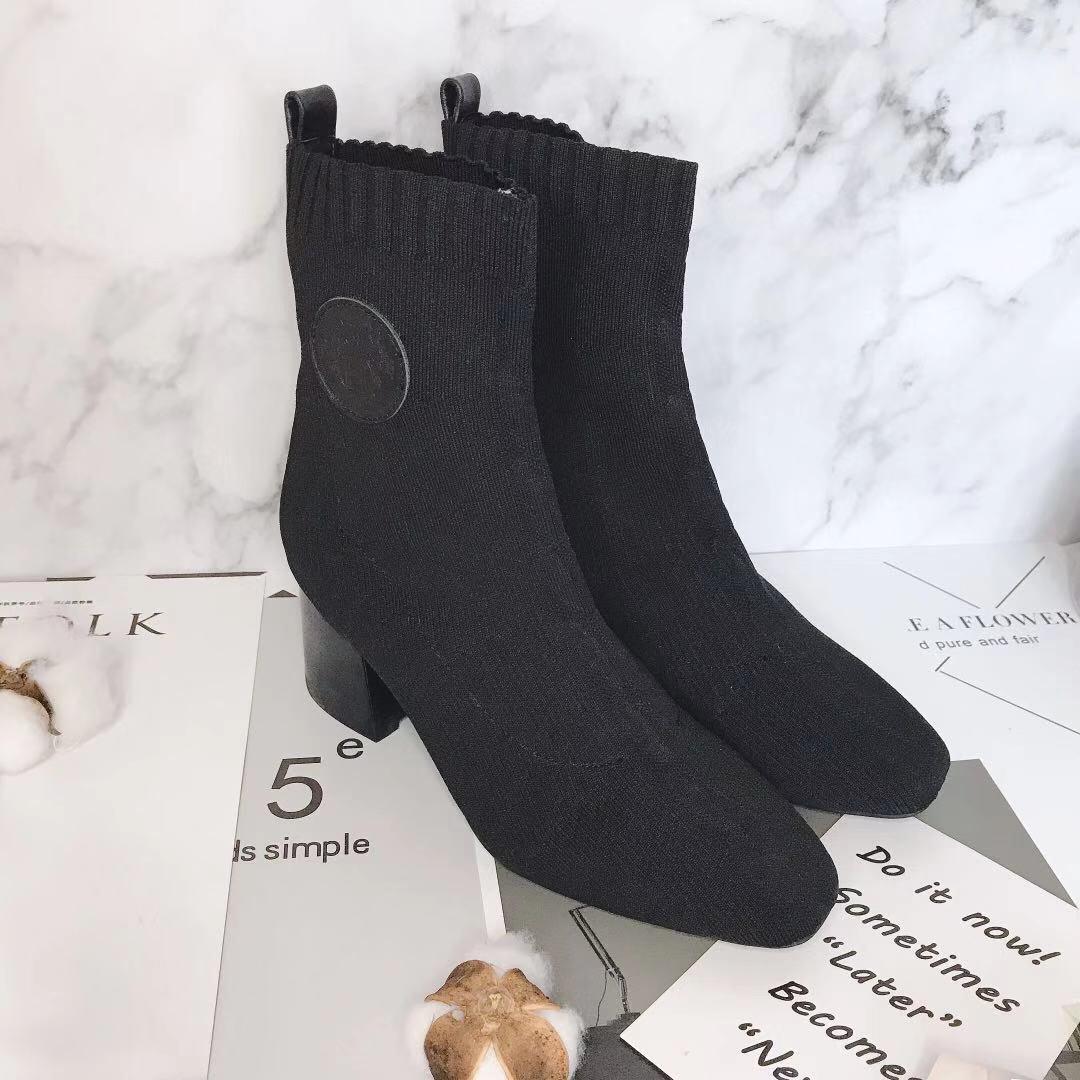Hermes 爱马仕 早秋新款弹力粗跟袜子靴 短靴(图2)