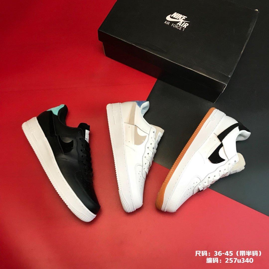 ?250集合图尺码:36-45(带半码)品牌:耐克 Nike 简介:  Nike Air Force 1 原盒真标 官方同步新品 结构断勾设计 超软真皮拼接  限定空军一号板鞋编码:257u340
