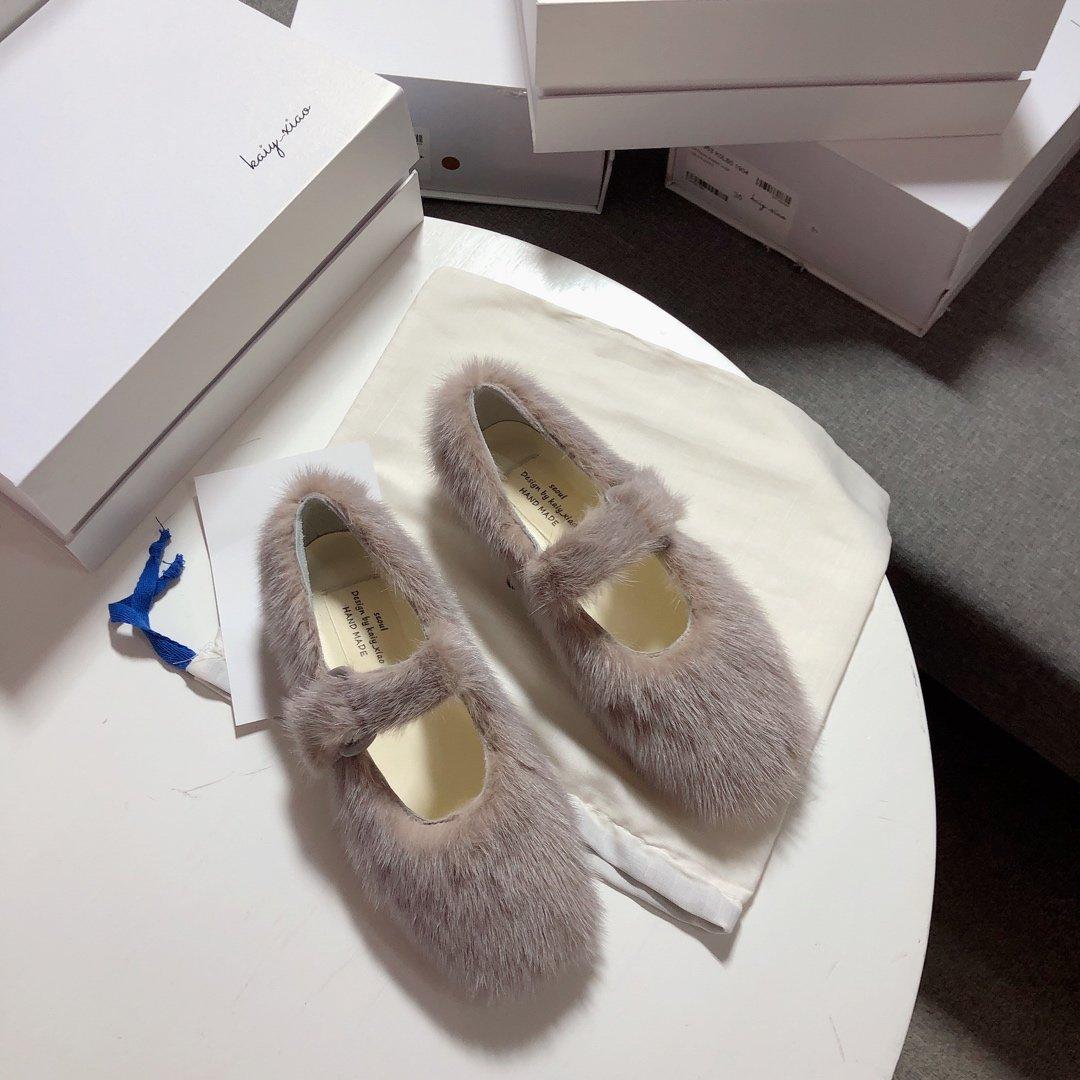 KAIY_XIAO皮草貂毛单鞋一个没