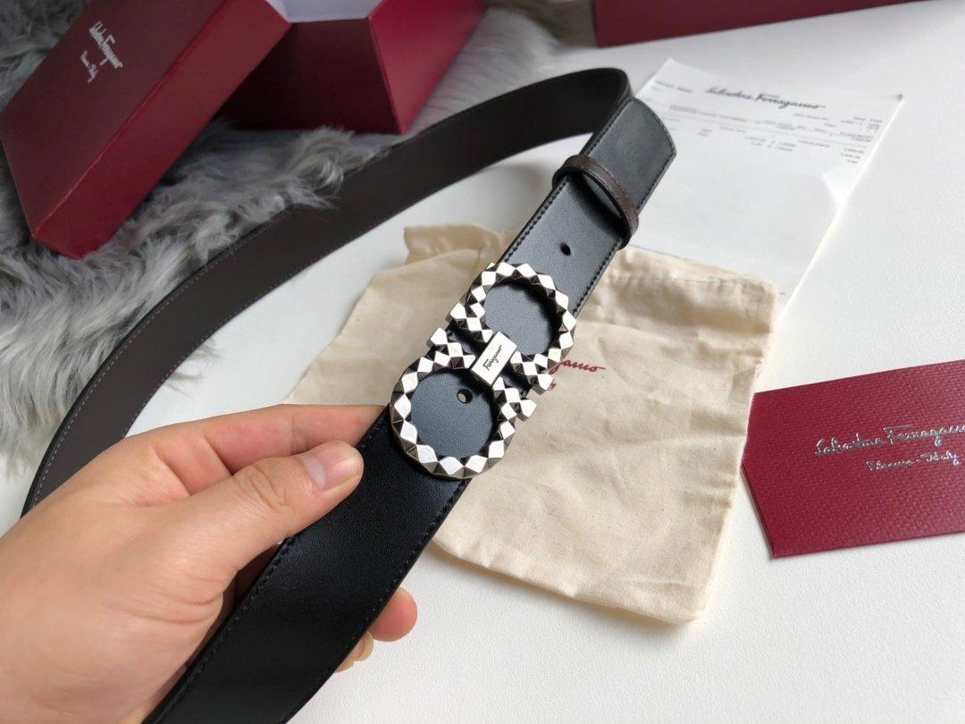 菲拉格慕双面意大利进口专柜专用亮面硅胶腰带(图2)