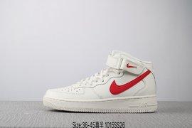 130真标半码耐克 Nike AIR Force 1 Mid 07 空军一号 潮流时尚高帮板鞋Size3645 编码1015SS2