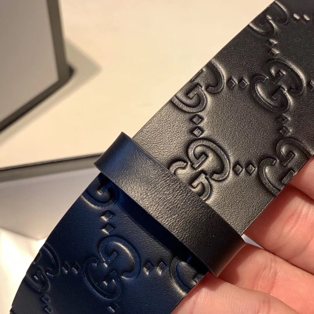 Gucci古奇经典款男士黑花新款皮带 升级版扣头 男款腰带(图5)