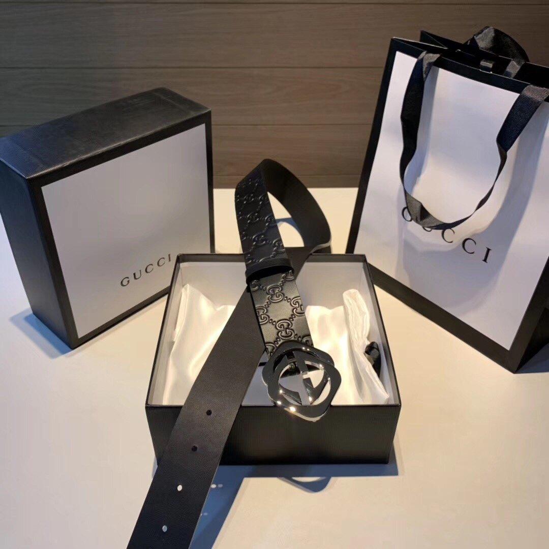Gucci古奇经典款男士黑花新款皮带 升级版扣头 男款腰带(图1)