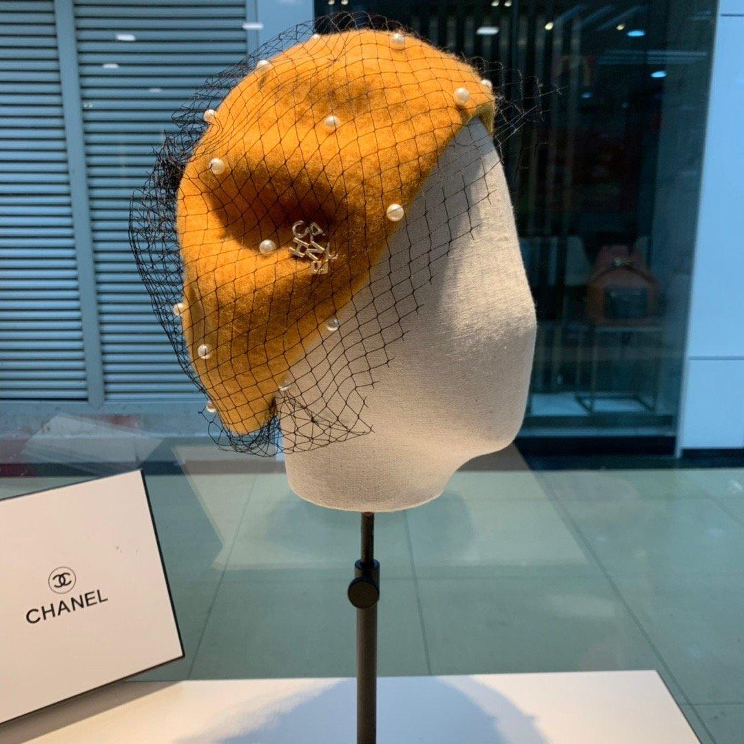 Chanel香奈儿网纱珍珠贝雷帽画家