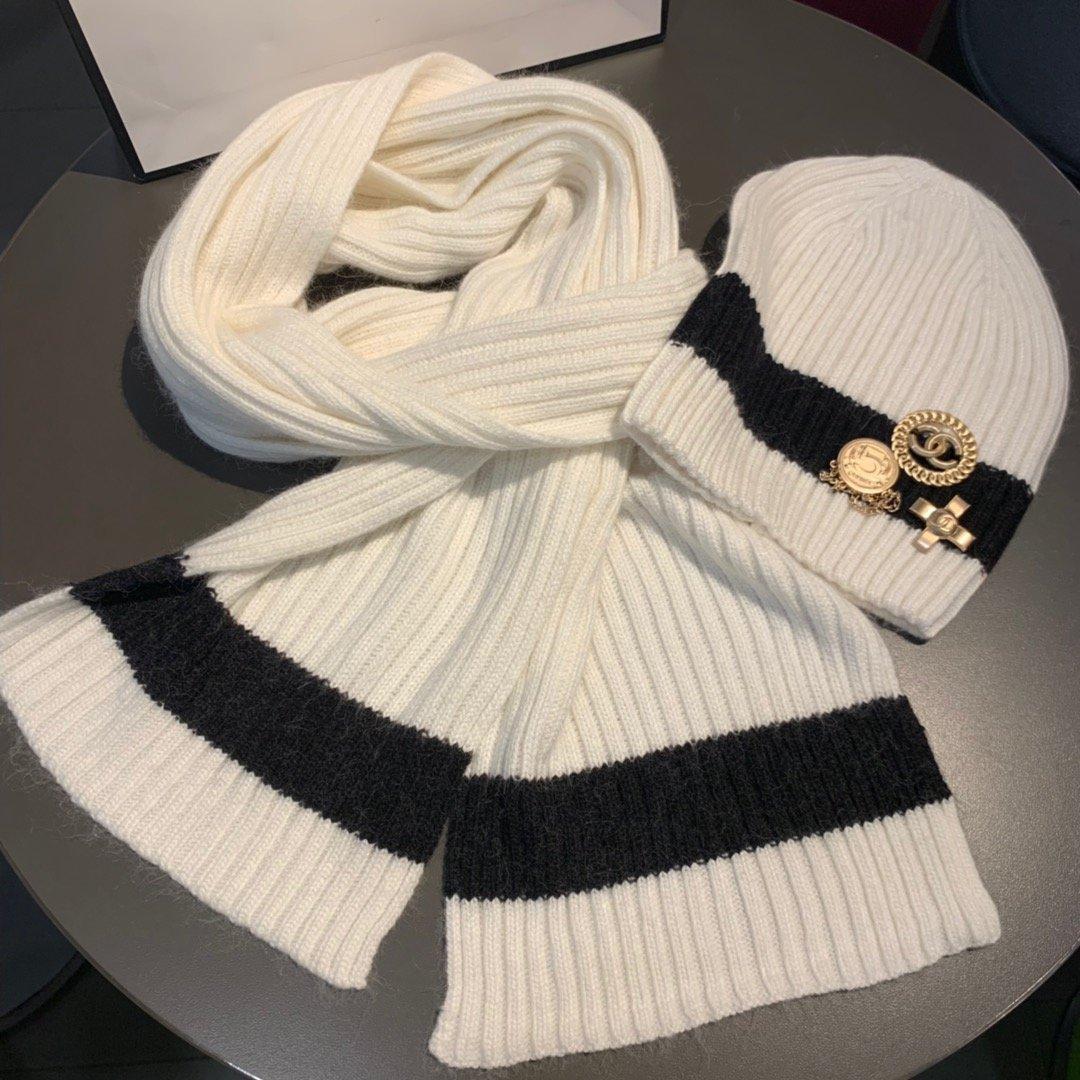 跑量Chanel香奈儿针织帽子围巾套