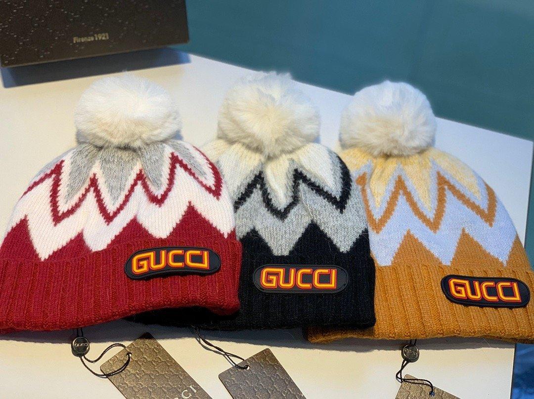 Gucci古奇新款毛线帽羊毛+兔毛秋