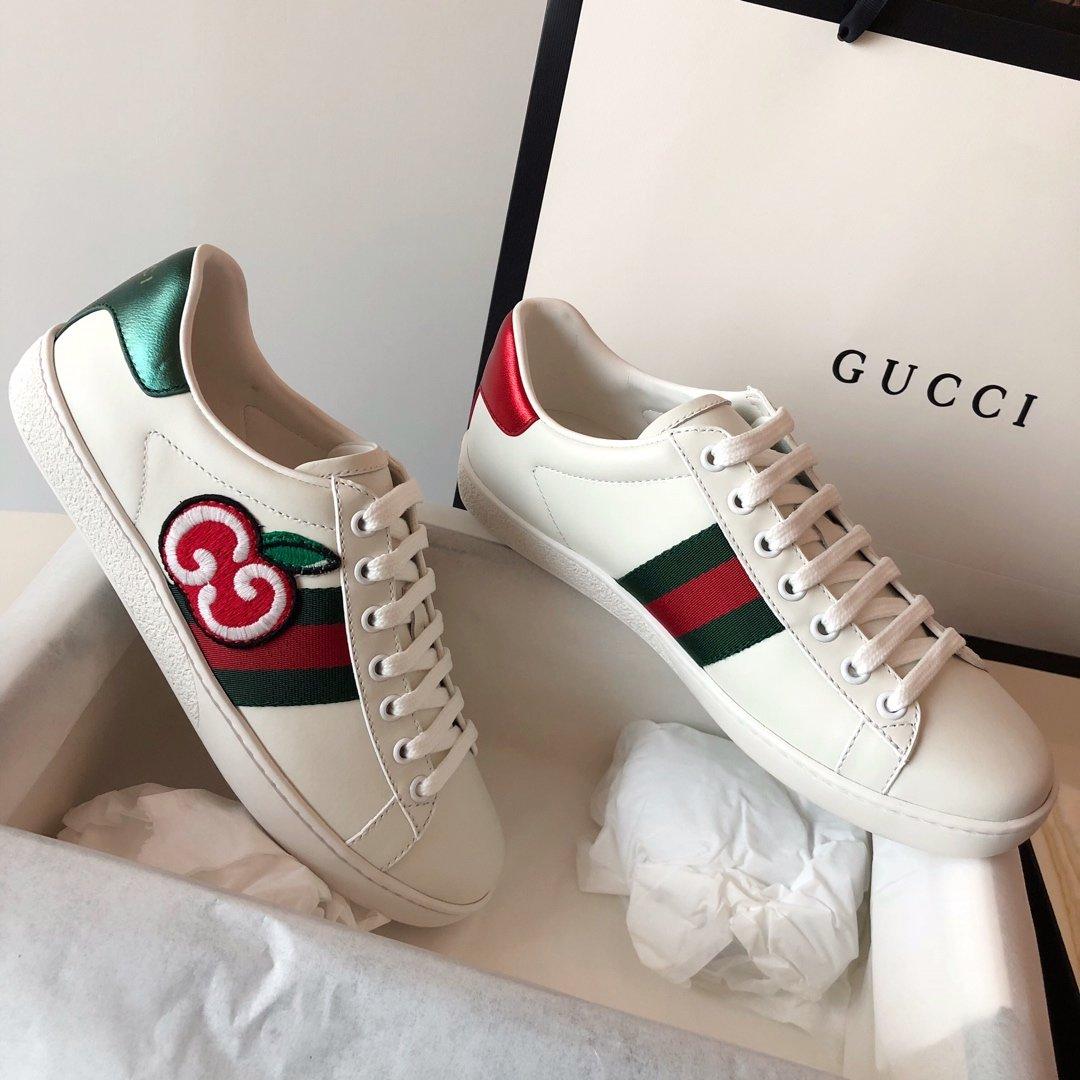 Gucci Ace Sneakers 代购级别苹果/小蜜蜂两穿脚踩小白鞋(图5)
