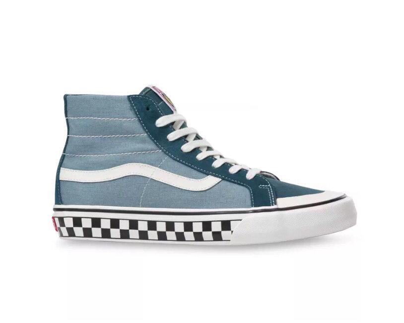 新款??【新款到货】型号YY771VANS范斯男女鞋Style 36 SF蓝色低帮棋盘格休闲滑板鞋VN0A3MVLXPQ Size:35 一44带半码