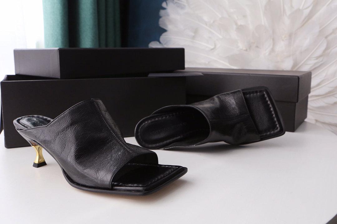 顶级BV 方头高跟半拖 异形跟鞋跟穆勒鞋(图3)