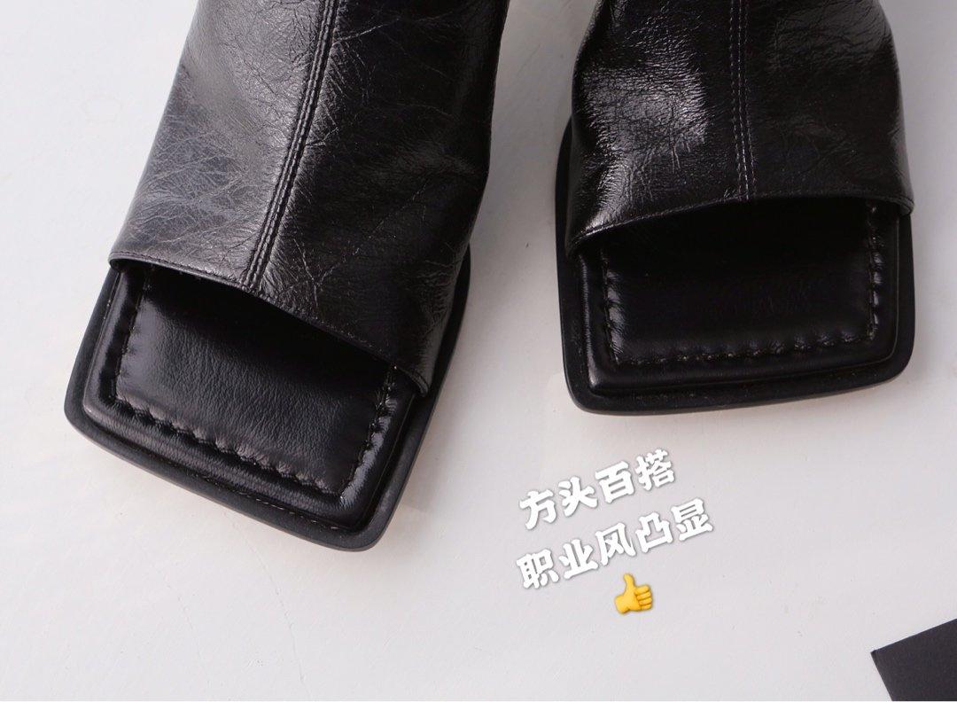 顶级BV 方头高跟半拖 异形跟鞋跟穆勒鞋(图6)