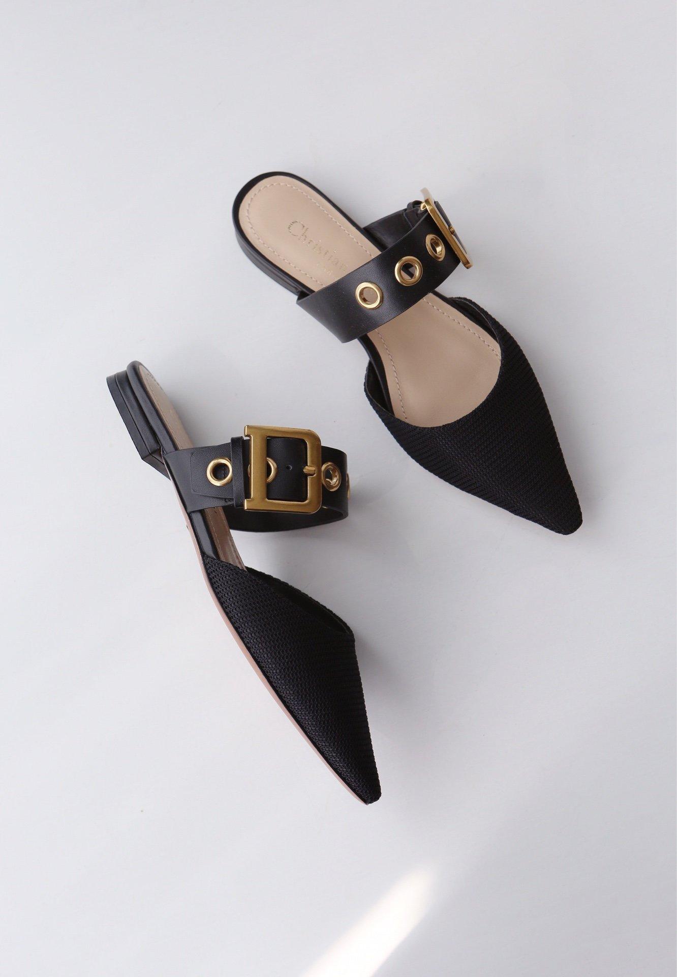 Dior 19ss新款尖头平底高跟拖鞋 顶级代购品质(图6)