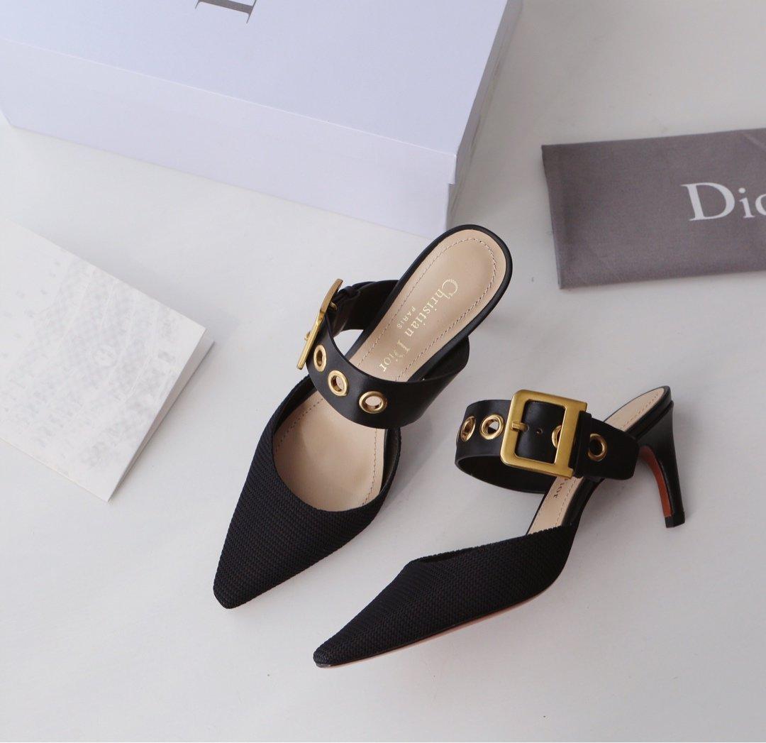 Dior 19ss新款尖头平底高跟拖鞋 顶级代购品质(图3)