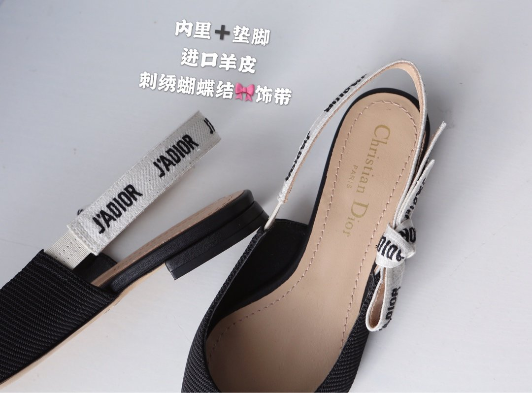 2019 J'ADiOR 尖头蝴蝶结织带后空芭蕾舞鞋原版机织罗纹布(图6)