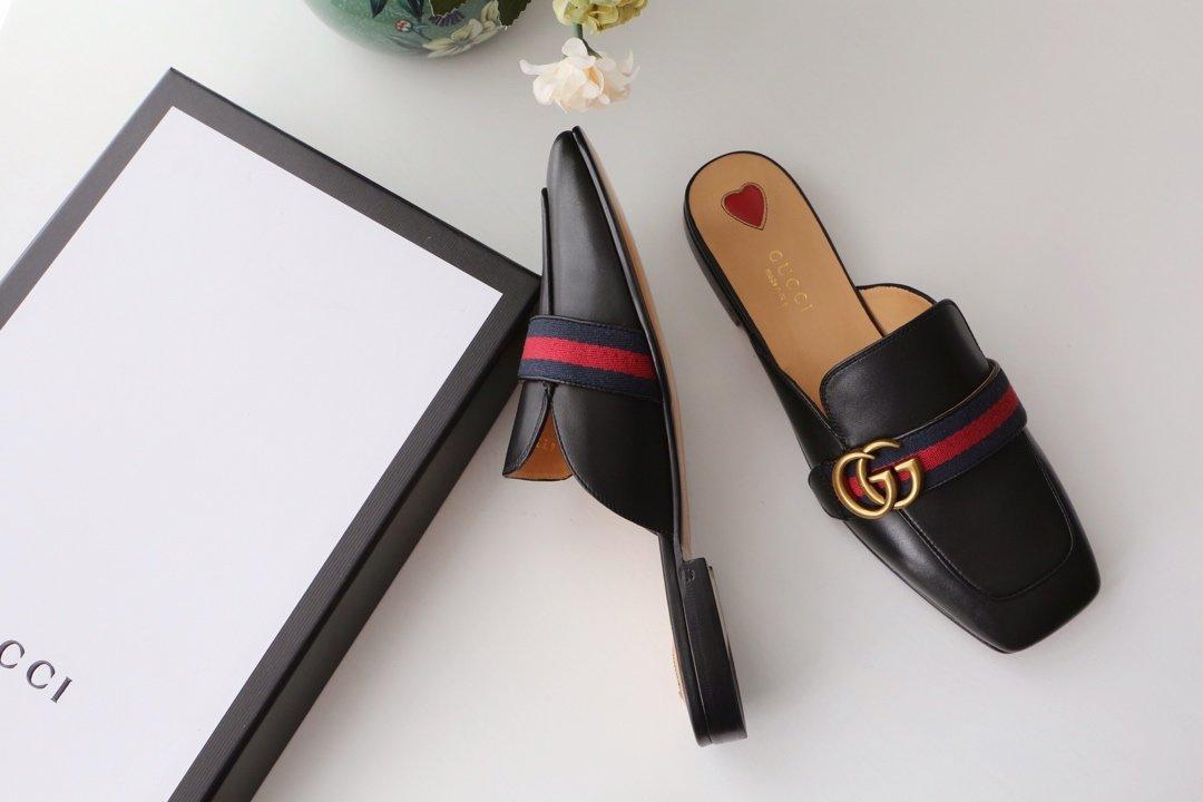 GUCCi经典款方头双G珍珠中跟穆勒鞋 蓝/红纯棉织带代购级(图15)