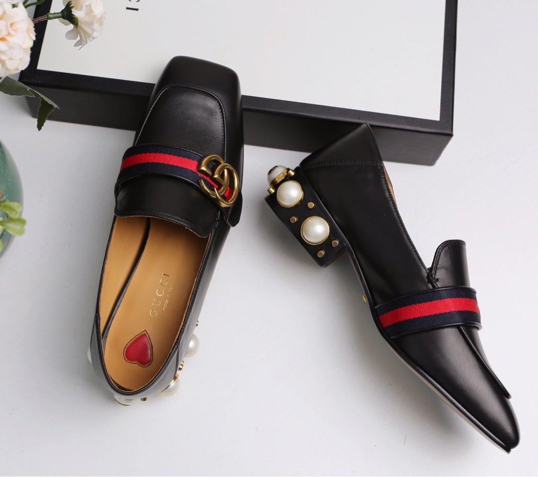 GUCCi经典款方头双G珍珠中跟穆勒鞋 蓝/红纯棉织带代购级(图14)